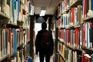 Rise student library stacks header